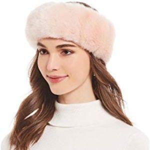 Free People Parkhurst Faux Fur Headband Pink New